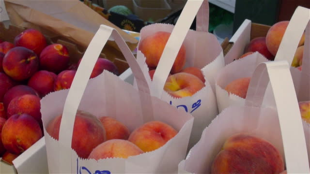 peaches and nectarines for sale at farmers market in denver, colorado - paper bag stock videos & royalty-free footage