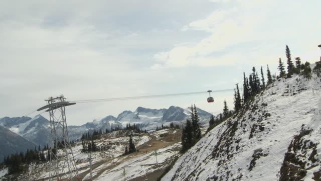 WS POV Peak cable car riding towards Whistler Mountain / Whistler, British Columbia, Canada