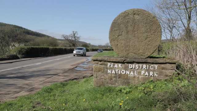 Peak District Nation Park Entrance Millstone at Beeley, Chatsworth, Derbyshire, England, UK, Europe