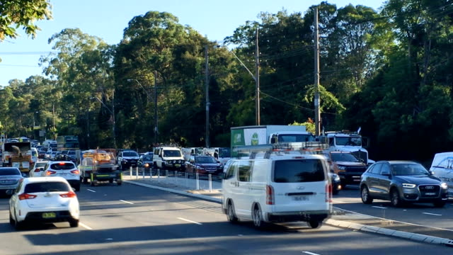 peak hour in the morning -sydney traffic on ryde road - motorway stock videos & royalty-free footage