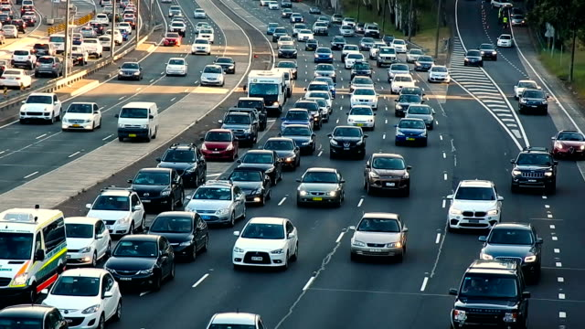 peak hour of sydney traffic - motorway stock videos & royalty-free footage