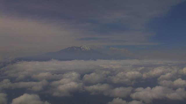 Peak of Mt Kilimanjaro from airplane, Tanzania