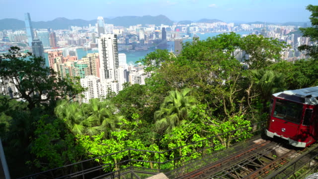 peak tram arriving at victoria peak, hong kong - tram stock videos & royalty-free footage