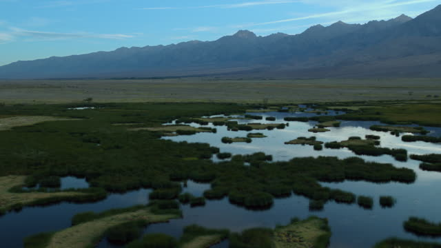peaks of the eastern sierra nevadas tower over a wetland area in the owens valley. - basin and range province stock videos and b-roll footage
