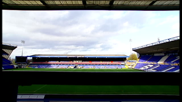 peaky blinders' tv drama: a look behind the scenes and interview with steven knight; st andrews football ground: gv stadium - seen through seating... - television show stock videos & royalty-free footage
