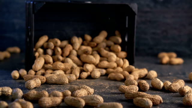 peanut are poured out of it on wooden background - nutshell stock videos & royalty-free footage