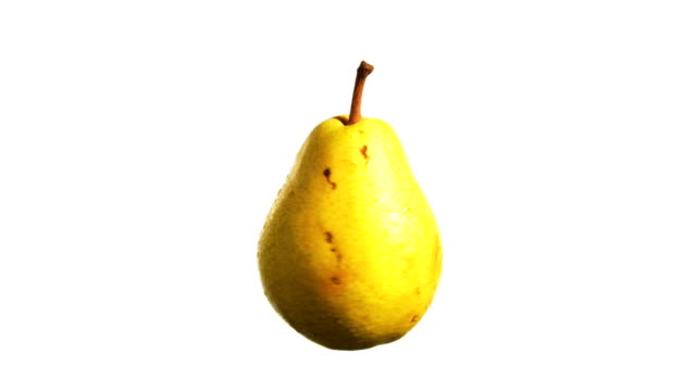 pear spinning and rotating isolated on white background suspended in the air - pear stock videos & royalty-free footage