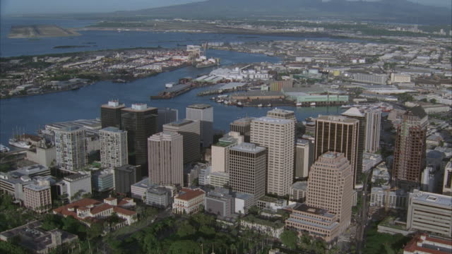 aerial, ws, pearl harbor downtown, hawaii, usa - pearl harbor stock videos and b-roll footage