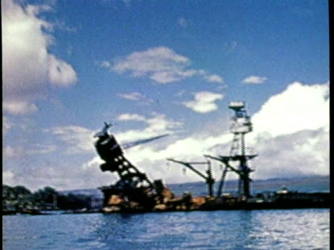 pearl harbor / no audio / footage of the uss oklahoma capsized as a result of the attack on pearl harbor / - 真珠湾攻撃点の映像素材/bロール
