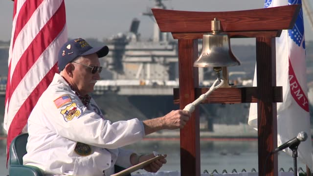 kswb pearl harbor remembrance ceremony in san diegoon december 7 2015 - memorial stock videos & royalty-free footage