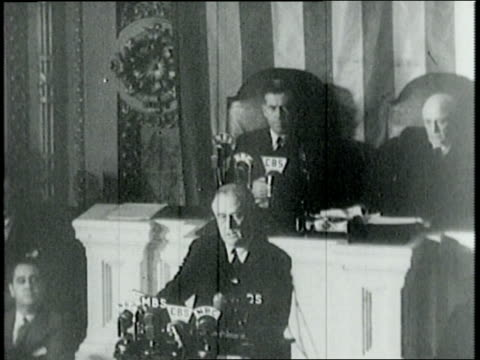 pearl harbor speech by franklin d roosevelt before congress gathered in house of representatives / the united states will be victorious but our... - united states congress点の映像素材/bロール