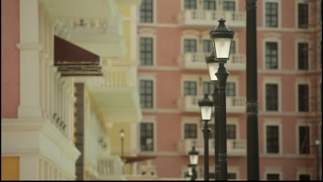 pearl island. view of antique style lampposts on a pretty street. - street light stock videos & royalty-free footage