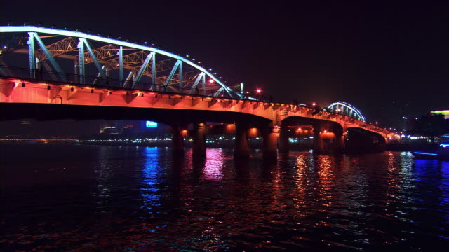 pearl river bridge at night - artbeats stock videos & royalty-free footage