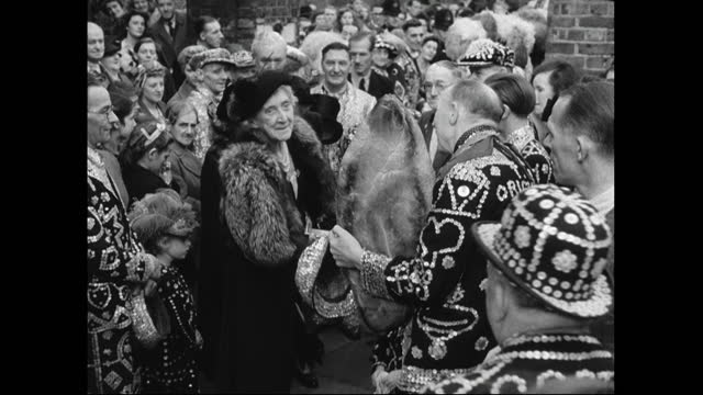 pearly kings and queens bring bread to harvest festival; 1949 - english culture stock videos & royalty-free footage