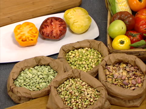 peas and tomatoes today show's cooking segment shows fresh foods from the farmers market. on the top left there are three different types of big,... - brown eyes stock videos & royalty-free footage