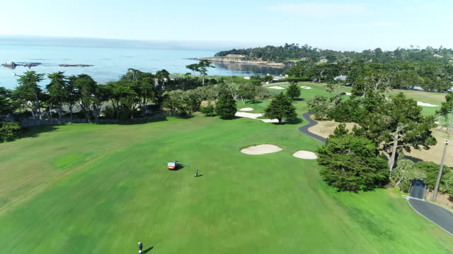 Pebble Beach Shoreline Golf Course - Drone - Dropping Toward Putting Green