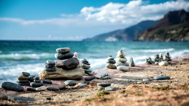 pebble stack - pebble stock videos & royalty-free footage