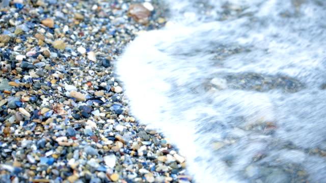Pebbles on the beach. Camera tilt up