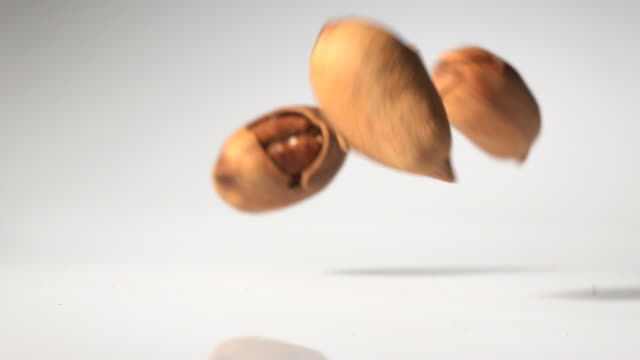 pecans jump in mid air captured with high speed - walnut stock videos & royalty-free footage