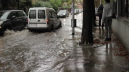 Pedestrian are stuck on flooded city streets