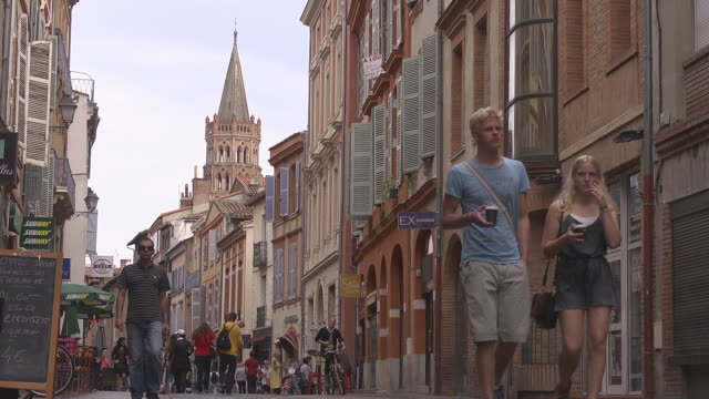 pedestrian area - toulouse stock videos & royalty-free footage
