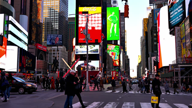pedestrian at times square - urban road stock videos & royalty-free footage