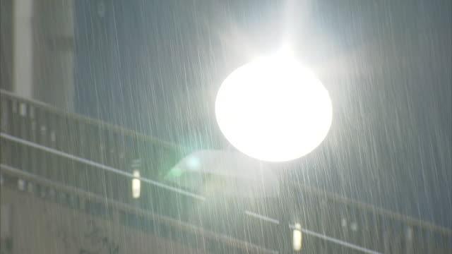 pedestrian bridge in heavy rain, shibuya, tokyo, japan - 集中豪雨点の映像素材/bロール