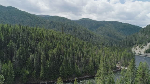 pedestrian bridge over the lochsa river in mountains in of nez perce - clearwater national forests, idaho. aerial drone video with the panoramic camera motion. - idaho stock videos & royalty-free footage