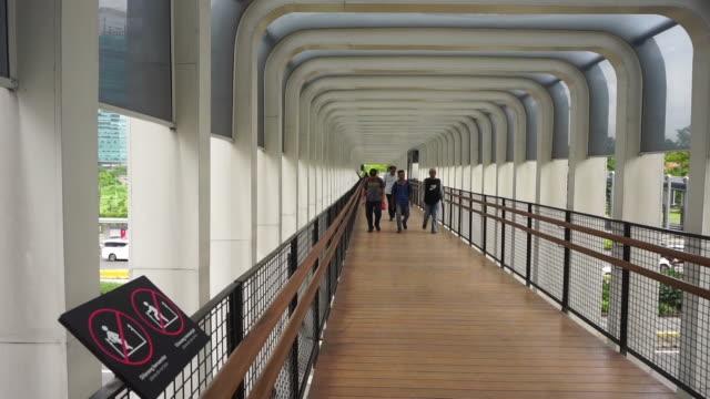 pedestrian bridge - pedestrian walkway stock videos & royalty-free footage