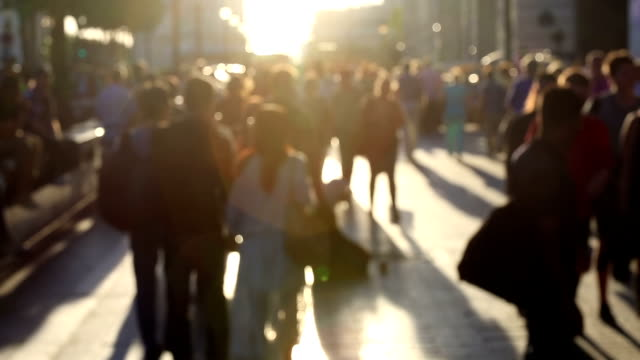 hd: pedestrian commuter crowd walking at champs elysee paris, france - crowd of people stock videos & royalty-free footage