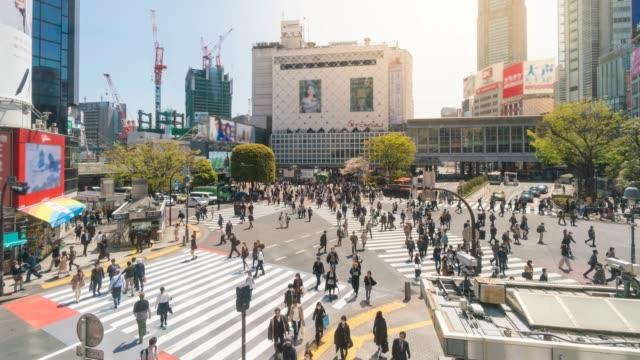 pedestrian cross shibuya crossing - shibuya station stock videos and b-roll footage