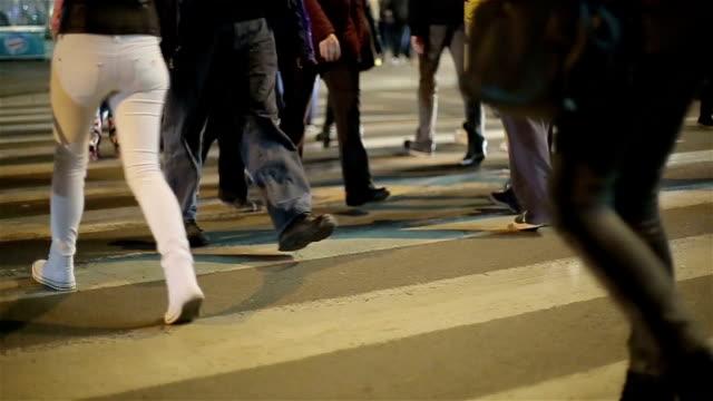 pedestrian crossing close up,night