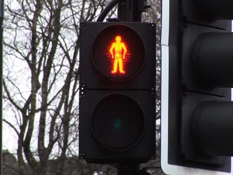 pedestrian crossing - uk - walk don't walk signal stock videos and b-roll footage