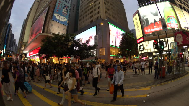 pedestrian crossing - wanchai stock videos and b-roll footage