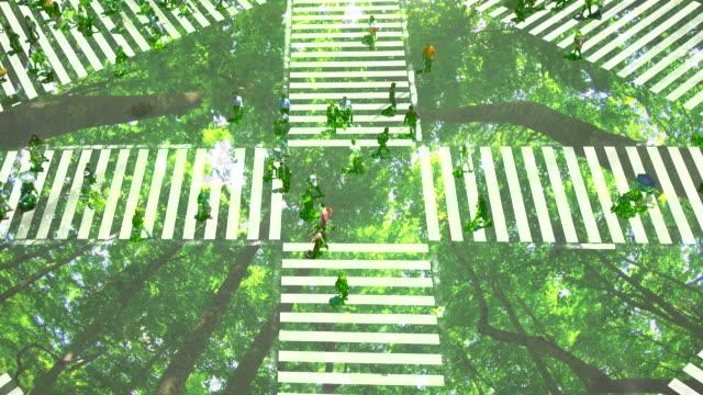 vídeos de stock e filmes b-roll de pedestrian crossing with green forest - estilo de vida sustentável