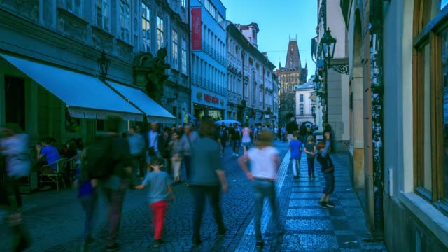 pedestrian crowded at lesser town mala strana - mala strana stock videos and b-roll footage