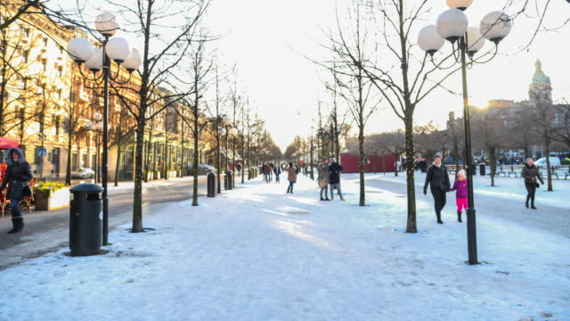 Pedestrian Crowded In The Snow At Stockholm City, Sweden