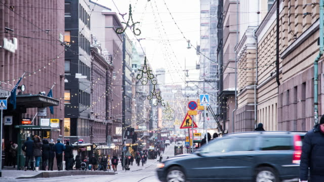 pedestrian crowed at helsinki, finland - finlandia video stock e b–roll