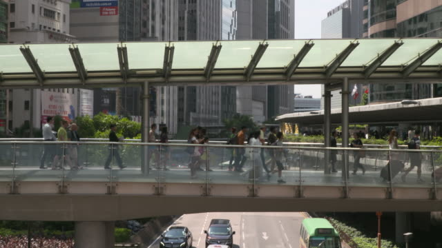 pedestrian footbridge, hong kong - central district hong kong stock videos & royalty-free footage