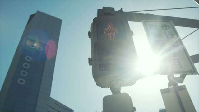 pedestrian go signal at roppongi hill - traffic light stock videos & royalty-free footage