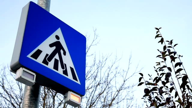 hd - pedestrian sign with signal lights - zebra crossing stock videos and b-roll footage