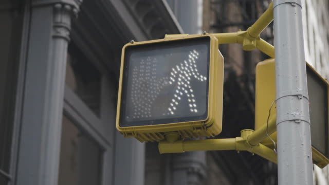 pedestrian traffic light at intersection in usa - aspettare video stock e b–roll