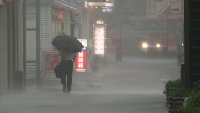 A pedestrian uses an umbrella to stay dry on a rainy day.