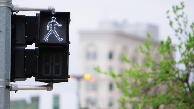 pedestrian walk sign - walk don't walk signal stock videos and b-roll footage