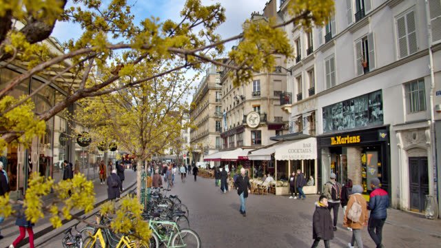 pedestrian walking street. paris - french culture stock videos & royalty-free footage