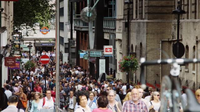 pedestrianised street near charing cross station, london. - street stock videos & royalty-free footage