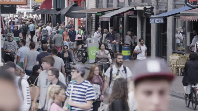 pedestrians and cars on busy amsterdam street - olanda settentrionale video stock e b–roll