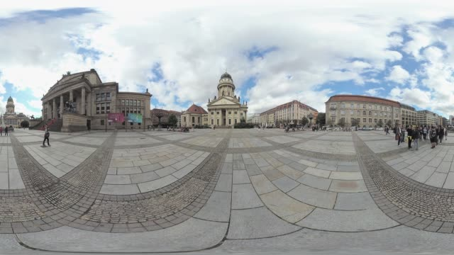pedestrians and tourist group visiting gendarmenmarkt immersive city scene tripod removal - monoscopic image stock videos & royalty-free footage