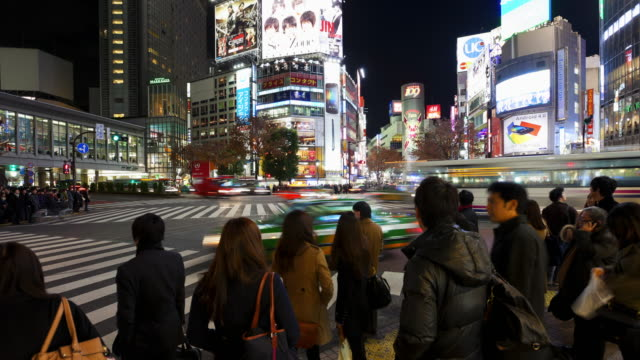 Pedestrians and Traffic at the Busy Shibuya Crossing