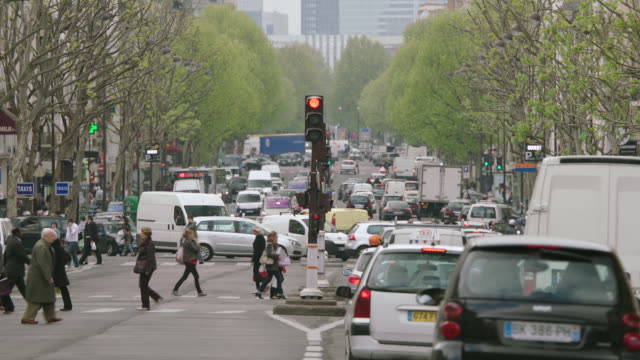 ms pedestrians and traffic moving on street / paris, france - grandangolo tecnica fotografica video stock e b–roll